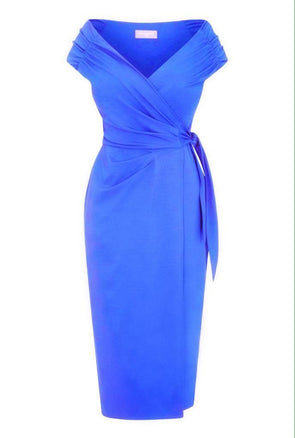 Bright Blue Jersey Bombshell 'The Feel Good' Edge Of The Shoulder Wrap Dress Cap Sleeve