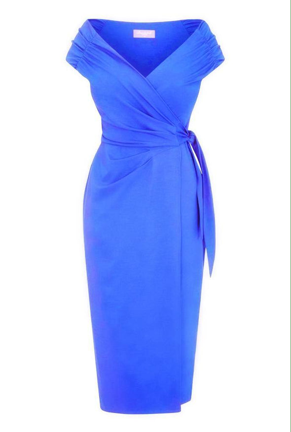 'The Feel Good' Edge of the Shoulder Bright Blue Bombshell Luxury Jersey Wrap Dress with Cap Sleeves