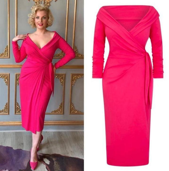 Bright Pink Jersey Bombshell 'The Feel Good' Edge Of The Shoulder Wrap Dress 3/4 Sleeve