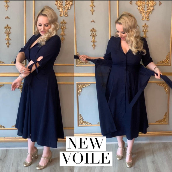 Navy Voile Bombshell 'Grace' Tie Front Shirt Dress