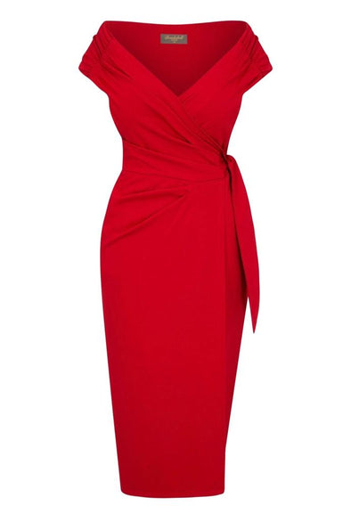 'The Feel Good' Edge of the Shoulder Red Bombshell Luxury Jersey Wrap Dress with Cap Sleeves