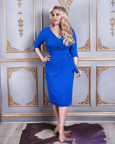 Bright Blue Moss Crepe Bombshell 3/4 Sleeve 'Confident' Dress - Bombshell London