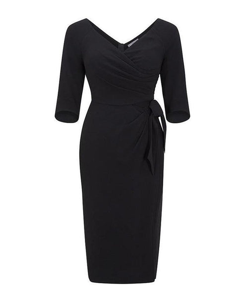 black bombshell dress with sleeves wrap pencil dress mother of the bride wedding guest nigella guest