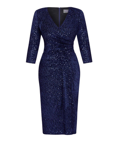 Limited Edition Navy Velvet Sequin Bombshell 3/4 Sleeve Dress
