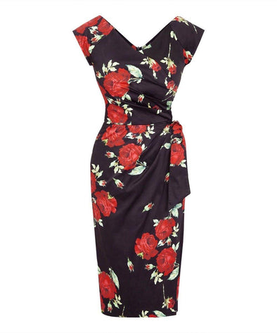 Darcey Black and Red Roses Confident Bombshell Cap Sleeve Dress