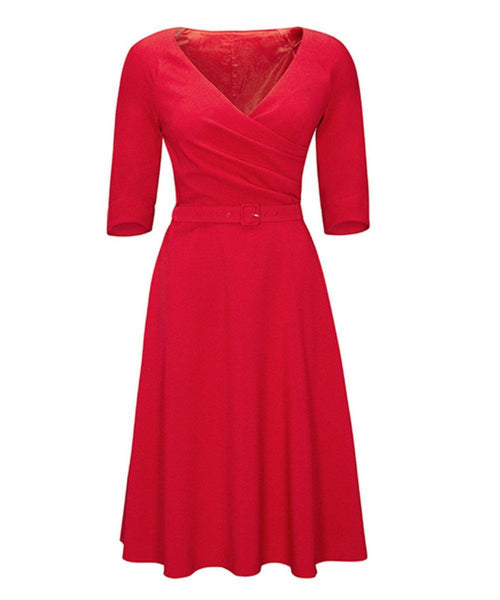 Cherry Red Fit Flare Flatter Bombshell Dress