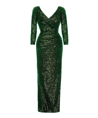 Green Sequin Evening Gown V neck Wedding Event Cocktail Party