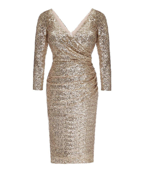 Bombshell Ultimate Gold Sequin Cocktail Dress Wedding Birthday Party Mother of the Bride