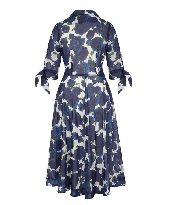 Navy Roses Voile Bombshell 'Grace' Tie Front Shirt Dress