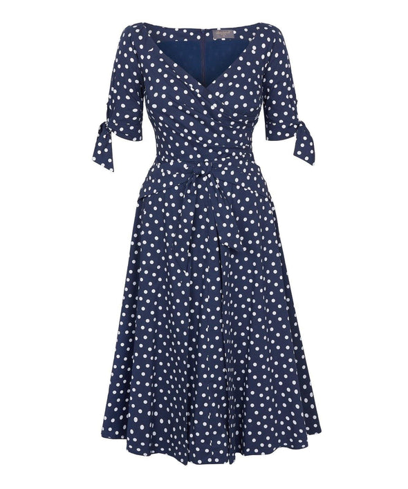 Navy Small Dots Bombshell 'RSVP' Dress