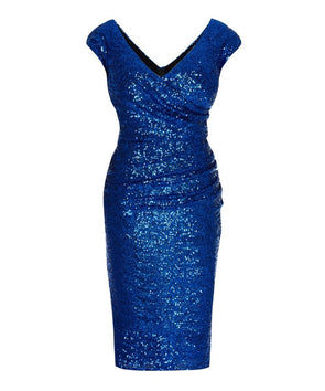 Cap Sleeve Electric Blue Sequin Cocktail Dress Wedding Summer Cocktail Mother of the Bride