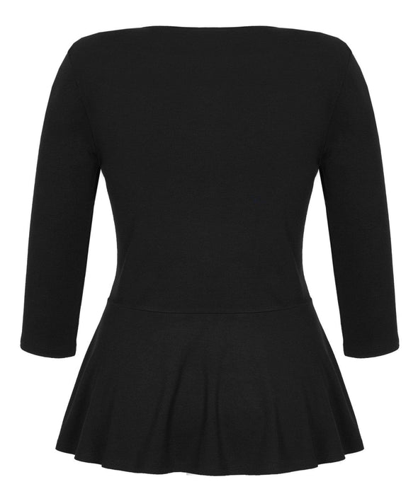 Black Sweetheart Top with Peplum