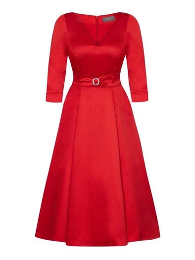 Bombshell 'Elegance' Dress in Soft Matt Red Stretch Satin Mother of the Bride Wedding Guest