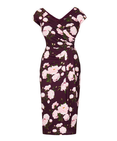 Wine Peony Stretch Luxe Cap Sleeve Dress