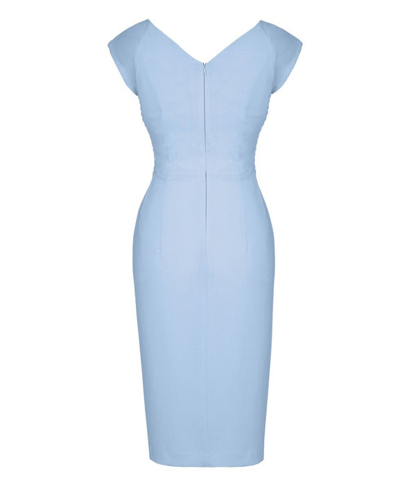 Bombshell Confident Powder Blue Cap Sleeve Dress