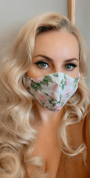 Bombshell Facemask With Filter Pocket Made With Pink Carline Roses Liberty Tana Lawn print