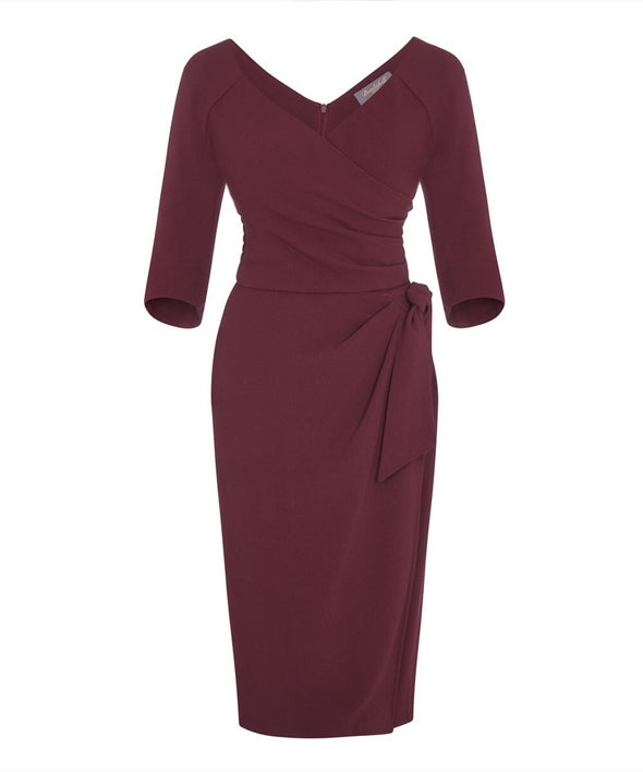 Wine Confident Bombshell 3/4 Sleeve Dress