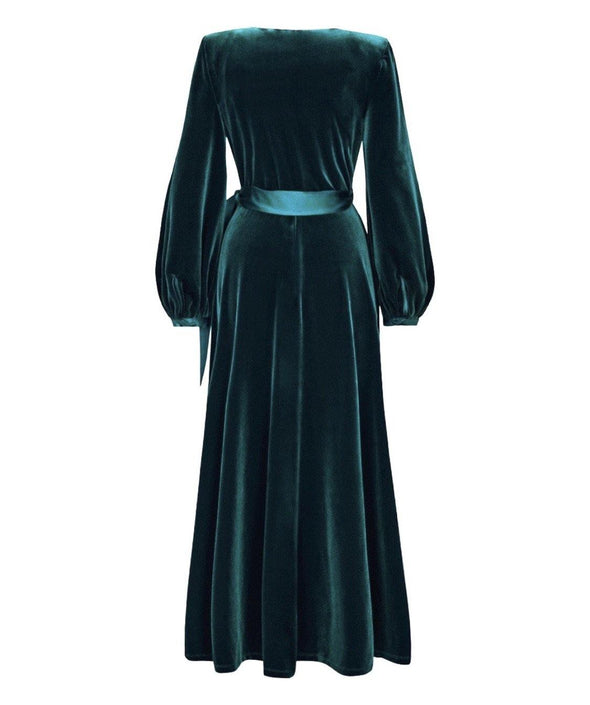 Luxury Velvet Bombshell Robe in Dark Green