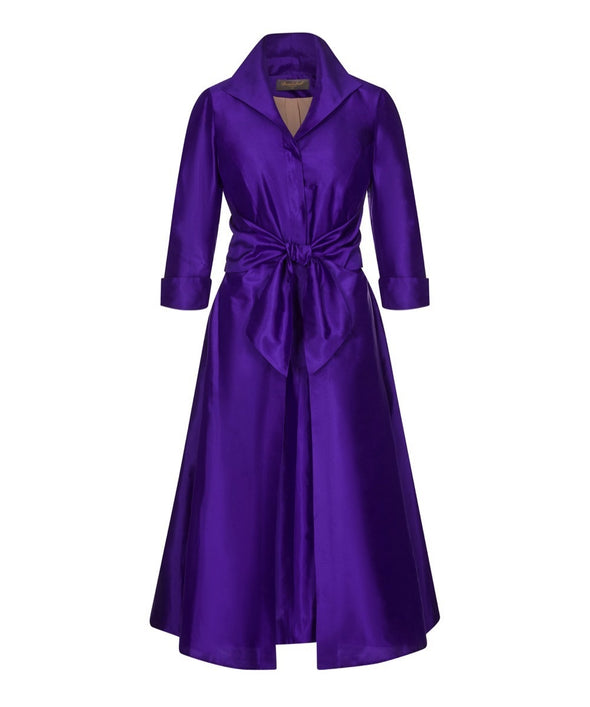 Silk Dupion Magnificent Violet Grace Tie Front Shirt Bombshell Dress Mother of the Bride Wedding Guest Dress