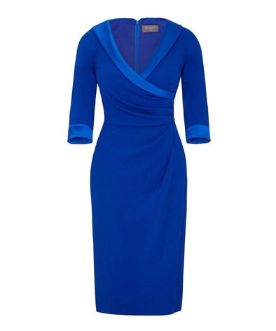 Invitation Sapphire Blue Collar Sarong Bombshell Dress - Bombshell London