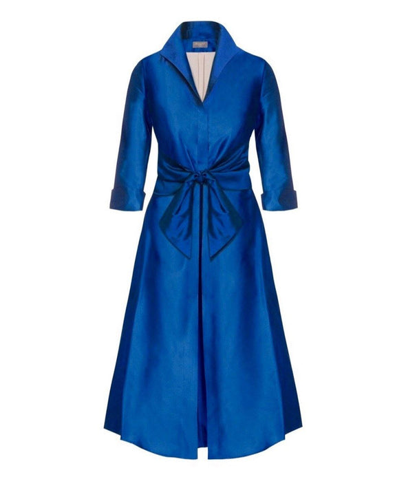Bombshell Silk Dupion Pacific Blue Grace Tie Front Shirt Dress Mother of the Bride Wedding Guest Dress