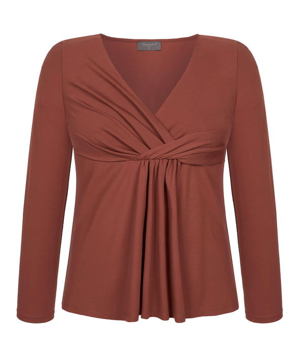 Lounge Drape Top in Tobacco Front