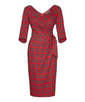 Red Tartan (Small Check) Bombshell 3/4 Sleeve Confident Dress