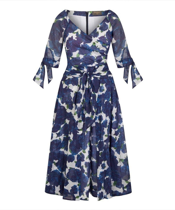 LIMITED EDITION 'RSVP' Bombshell Dress in Navy Roses Voile
