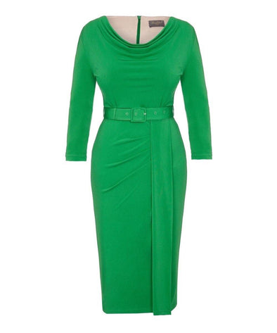 Bright Green Bombshell 'Stretch Luxe' Scoop Neck 3/4 Sleeve Jersey Dress