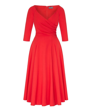 Edge of the Shoulder Midi Bombshell Dress in Red