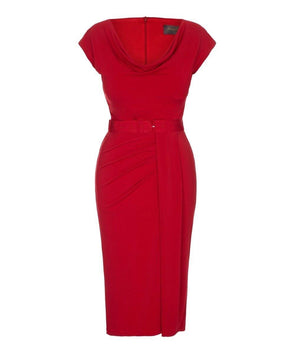 'Stretch Luxe' Scoop Neck Bombshell Cap Sleeve Jersey Dress Red