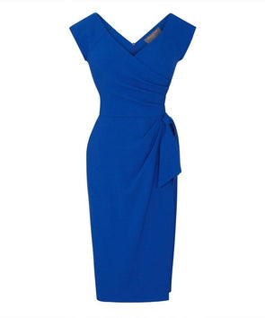Bright Blue Confident Bombshell Cap Sleeve Dress
