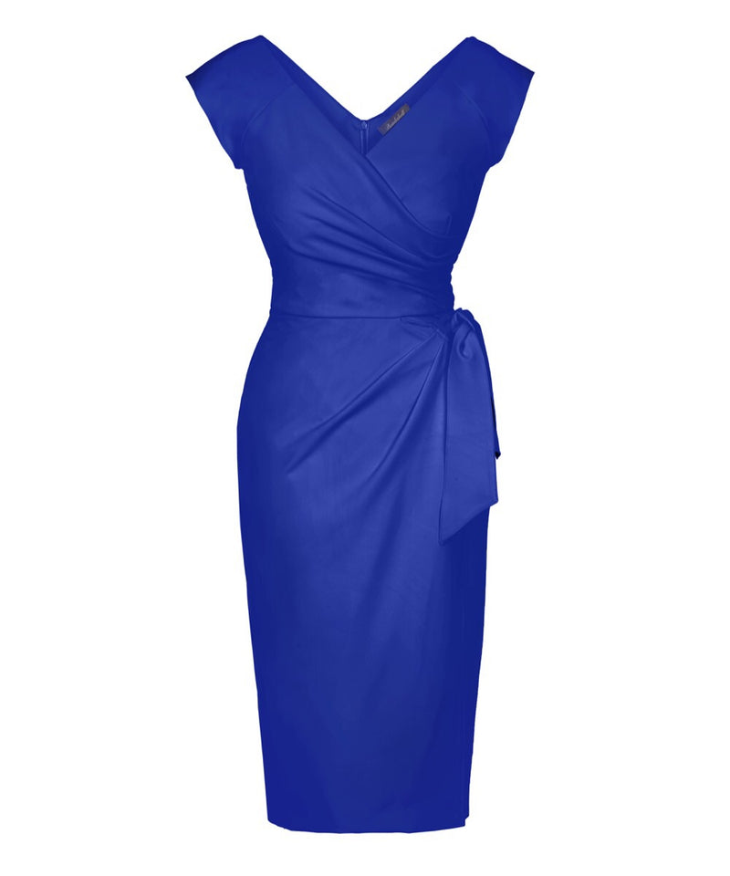 bright blue cap sleeve bombshell wrap dress mother of the bride dress for weddings