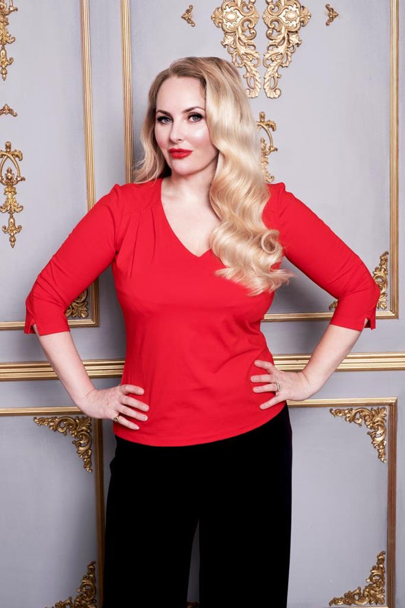 The classic V Neck Top in Hot Red 3/4 length sleeves