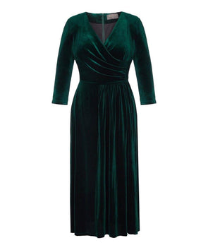 Dark Green Stretch Luxe Flare Jersey Dress Events Everyday Comfortable Warm Wedding Event