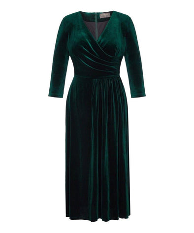 Dark Green Stretch Luxe Flare Jersey Dress