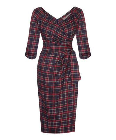 Midnight Tartan 3/4 Sleeve Dress