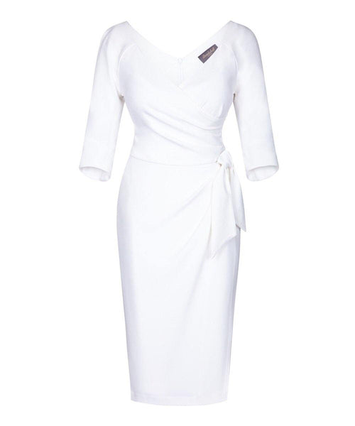 'Confident'' Bombshell 3/4 Sleeve Dress White
