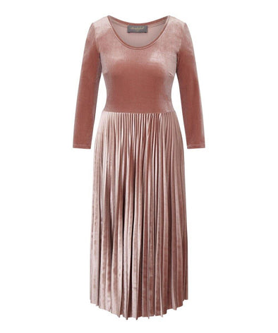 Blush Velvet Pleated Midi Bombshell Dress