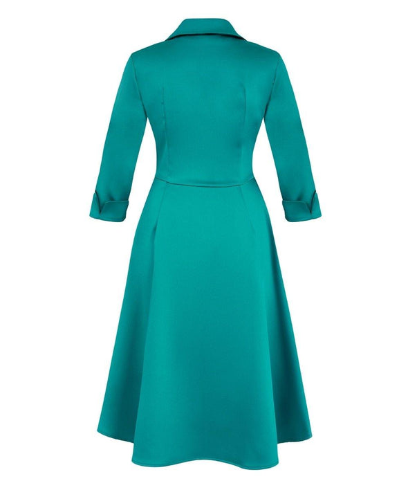 'Dinner at Eight' Jade Satin Bombshell Pocket Dress - Bombshell London