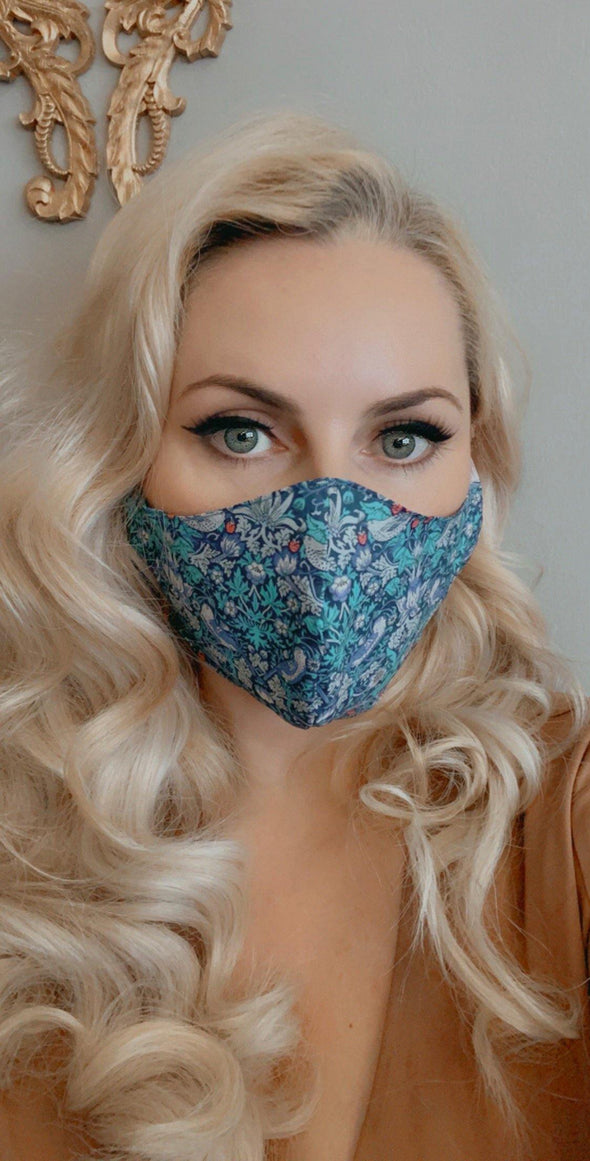 Bombshell Facemask With Filter Pocket in Strawberry Thief Midnight Liberty Tana Lawn print