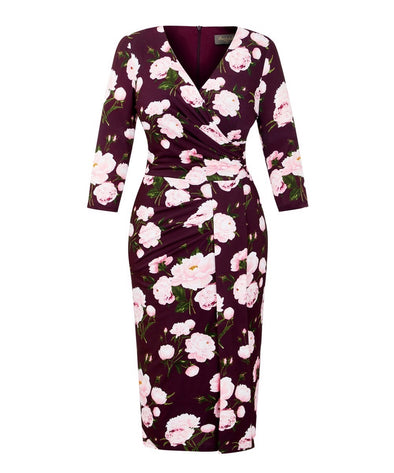 Wine Peony Stretch Luxe Bombshell 3/4 Sleeve Jersey Dress