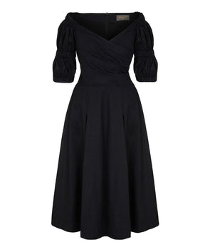 NOW IN - Puff Black Cotton Voile Bombshell Dress