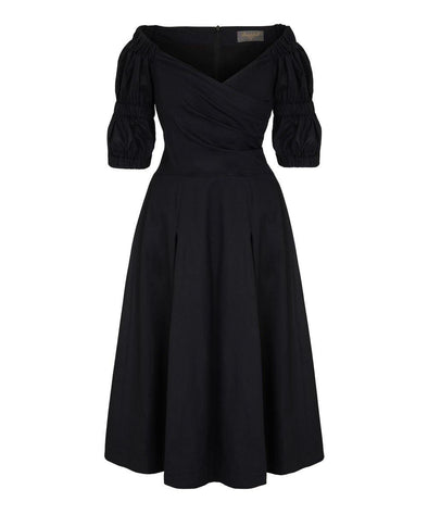 TRENDING - Puff Black Cotton Voile Bombshell Dress