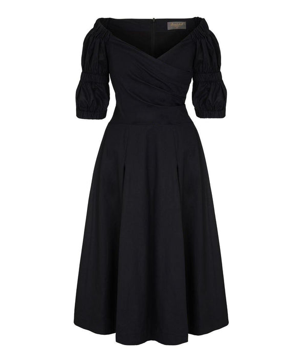 Black Cotton Voile Bombshell 'Puff Sleeve' Dress