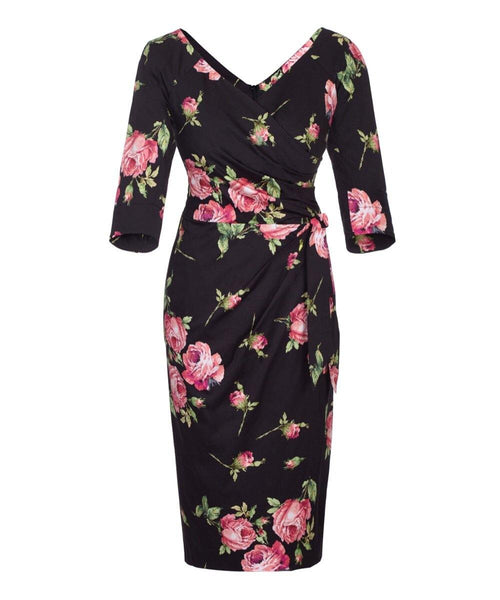 black and pink roses nigella mother of the bride wedding guest dress past the knee