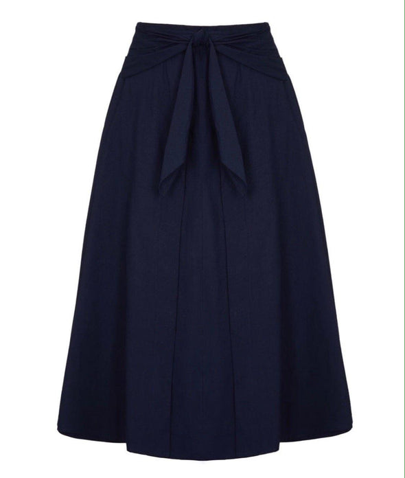 Navy Voile Tie Front Grace Skirt