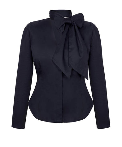 Detachable Scarf Hourglass Blouse in Black