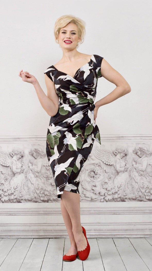 Dancing Cranes Cap Sleeve Sarong Wrap Dress