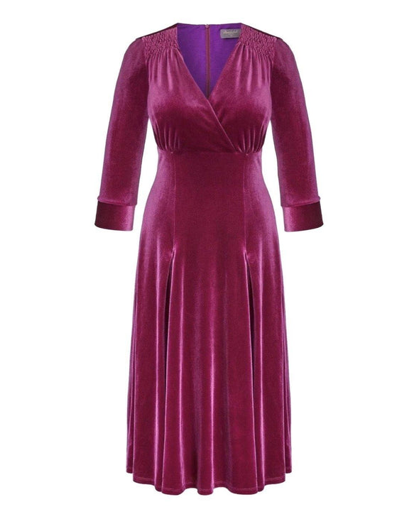 Cerise Velvet Bombshell Tea Dress